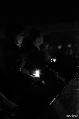 Sisters holding candles